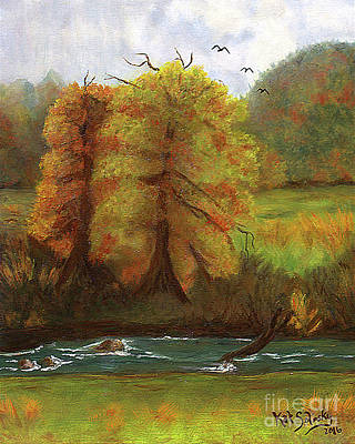 Animals Paintings - The Turning - Fall Beginnings on the New River Banks by Kat Solinsky