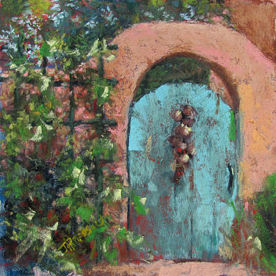 Southwest Gate Painting - The Turquoise Door by Julia Patterson