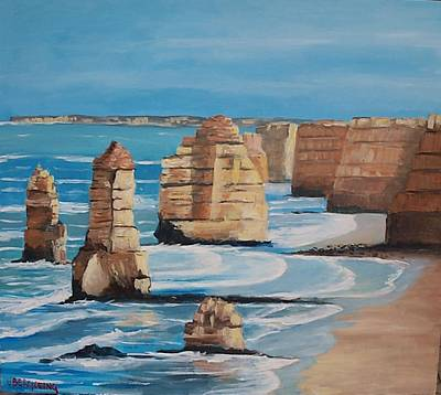 Painting - The Twelve Apostles, Victoria, Australia by Jean Pierre Bergoeing