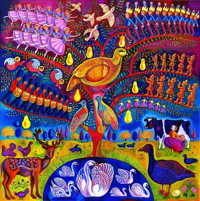 Bright Colours Painting - The Twelve Days Of Christmas by Jane Tattersfield