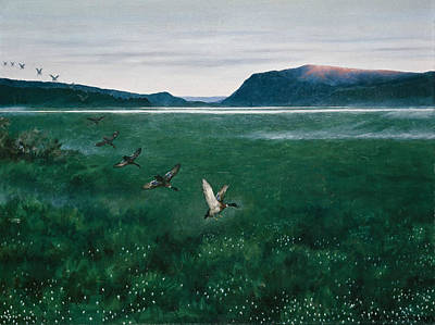 Painting - The Twelve Wild Ducks by Theodor Kittelsen