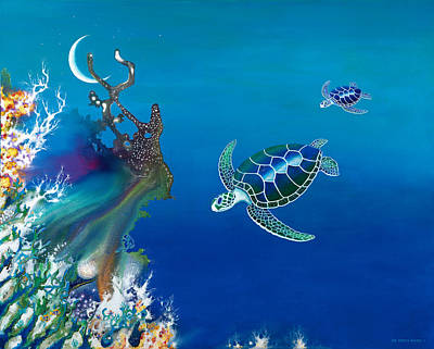 The Twin Turtles Of Oceania Art Print by Lee Pantas