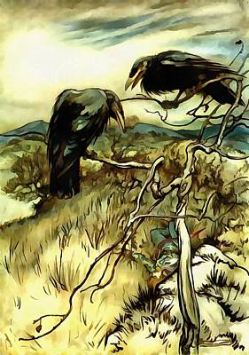 Painting - The Two Crows by Tracey Harrington-Simpson