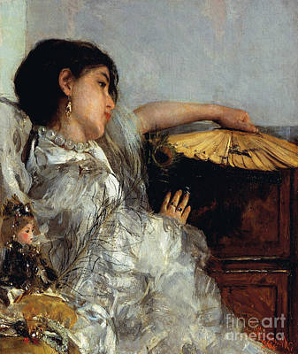 The Two Dolls Or Young Or Oriental Girl With Fan, 1876 Art Print by Antonio Mancini