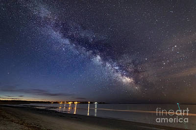 Photograph - The Two Great Lights - Morning Milky Way Over Prout's Neck by Patrick Fennell