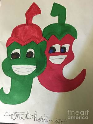 Drawing - The Two Hot Peppers  by Charita Padilla
