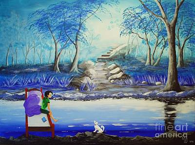 Dog In Landscape Painting - The Two Of Us In Blue Forest by Mario Lorenz