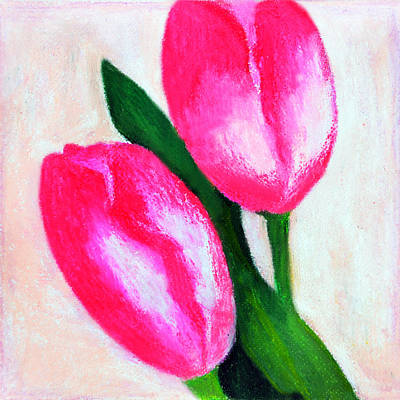 Painting - The Two Pink Tulips by Farah Faizal