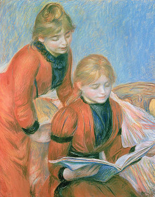 Library Pastel - The Two Sisters by Pierre Auguste Renoir