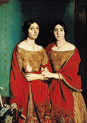 Sombre Painting - The Two Sisters by Theodore Chasseriau