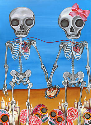 Surrealist Painting - The Two Skeletons by Jaz Higgins