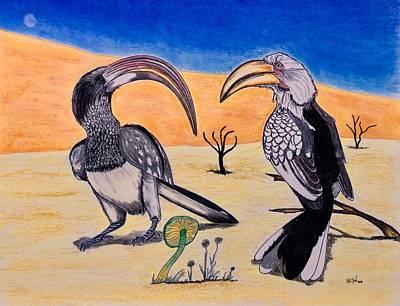 The Two - Surrealist Hornbills  Original