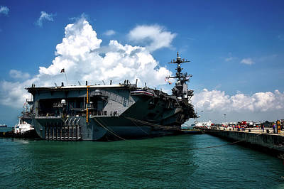 The U S S John C Stennis In Port Art Print by Mountain Dreams