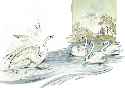 The Ugly Duckling - Joining Flock Of Other Swans On Sunny Lake - Illustration For Classic Fairy Tale Print by Elena Abdulaeva