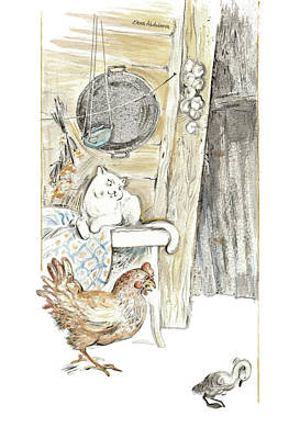 The Ugly Duckling - Bullied By Mean Hen And Proud White Cat - Illustration For Classic Fairy Tale Original