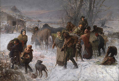 Snow-covered Landscape Painting - The Underground Railroad by Charles T Webber