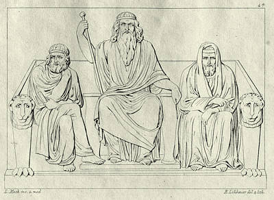 Drawing - The Underworld. Minos Aiakos And Rhadamanthys by Ludwig Mack