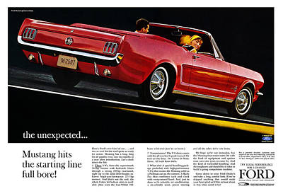 Ad Digital Art - the unexpected... 1964 Ford Mustang by Digital Repro Depot