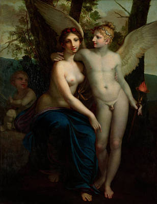 Goddess Mythology Painting - The Union Of Love And Friendship by Pierre Paul Prud'hon