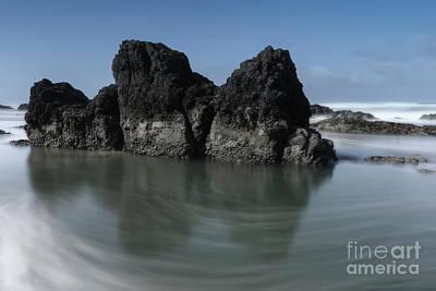 Oregon Photograph - The Unique Rock On The Beach by Masako Metz