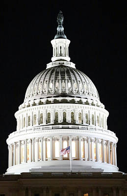 Photograph - The United States Capitol Dome At Night by Cora Wandel