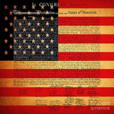 The United States Declaration Of Independence - American Flag - Square Art Print
