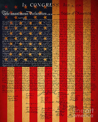 The United States Declaration Of Independence And The American Flag 20130215 Art Print