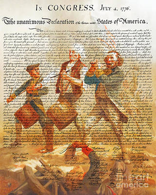 The United States Declaration Of Independence And The Spirit Of 76 20150704v1 Art Print