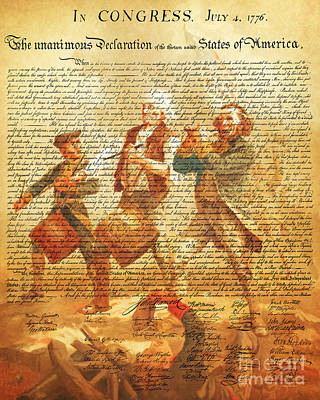 The United States Declaration Of Independence And The Spirit Of 76 20150704v2 Art Print by Wingsdomain Art and Photography