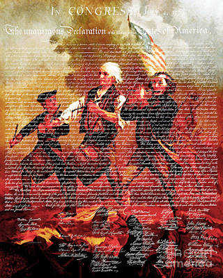 The United States Declaration Of Independence And The Spirit Of 76 20150704v3 Art Print