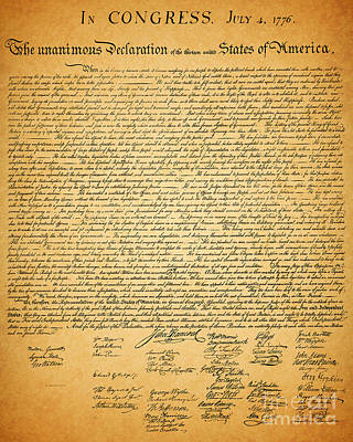 The United States Declaration Of Independence Art Print by Wingsdomain Art and Photography