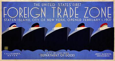 The United States' First Foreign Trade Zone - Vintage Poster Vintagelized Art Print