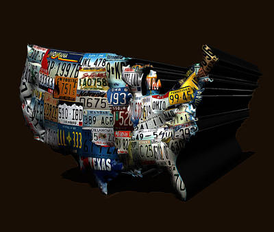 The United States License Plate Map Art Print by Brian Reaves