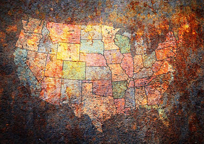 Americas Map Digital Art - The United States by Michael Tompsett