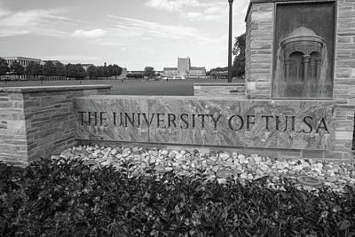 Oklahoma University Photograph - The University Of Tulsa Oklahoma In Black And White by Gregory Ballos