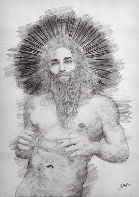 Male Nude Drawing Digital Art - The Unknown God by Joaquin Abella