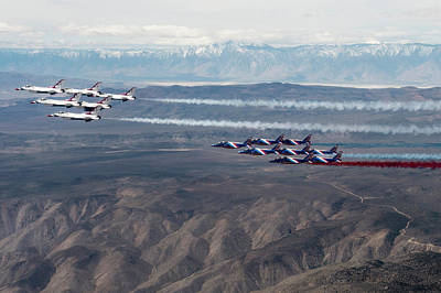 Photograph - The Us Airforce Thunderbirds And Patrouille Fly by Paul fearn