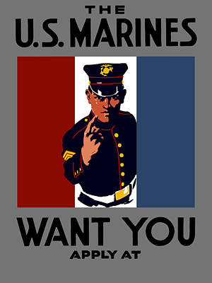 Us Propaganda Painting - The U.s. Marines Want You  by War Is Hell Store