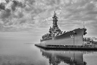 Photograph - The Uss Alabama In Black And White by JC Findley