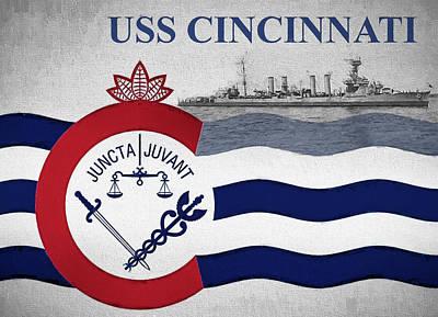 Digital Art - The Uss Cincinnati by JC Findley