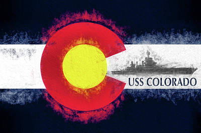Colorado State Flag Photograph - The Uss Colorado by JC Findley