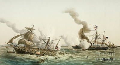 Alabama Drawing - The Uss Kearsage Of The Union Navy Sinks The Confederate Raider Css Alabama by Louis Lebreton