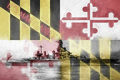 Digital Art - The Uss Maryland by JC Findley