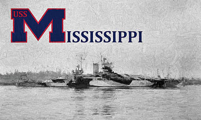 Battle Ship Photograph - The Uss Mississippi by JC Findley