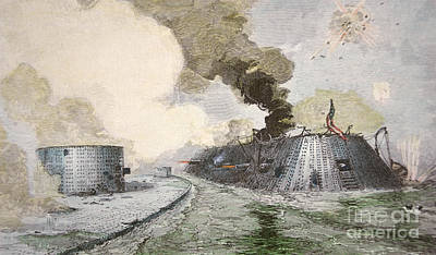 The Uss Monitor Fighting The Css Merrimack At The Battle Of Hampton Broads During The Civil War Art Print by American School