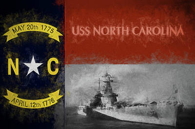 The Uss North Carolina Art Print by JC Findley