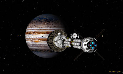 Digital Art - The Uss Savannah Nearing Jupiter by David Robinson