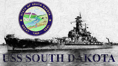 Digital Art - The Uss South Dakota by JC Findley