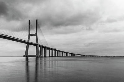 Warn In Photograph - The Vasco Da Gama Bridge Lisbon by Christopher Cosgrove