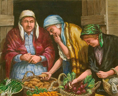 Scallion Painting - The Vegetable Vendor by Edward Farber